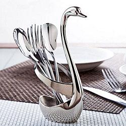 Creative Cake Fruit Spoon Holder Swan Base + 3 Forks + 3 Spoons Tableware Set