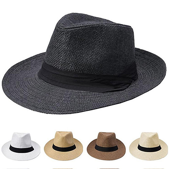 e813ca27e6443 Trending product! This item has been added to cart 11 times in the last 24  hours. Men Women Fashion Ribbon Decor Hat Summer Beach Sun Topee Straw ...