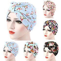 Women Muslim Stretch Turban Hat Cancer Chemo Cap Hair Loss Head Scarf Cover