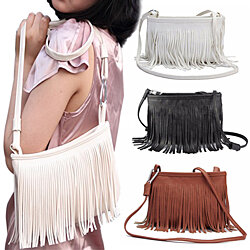 Women Tassels Faux Leather Shoulder Bag Messenger Handbag Crossbody Tote Satchel