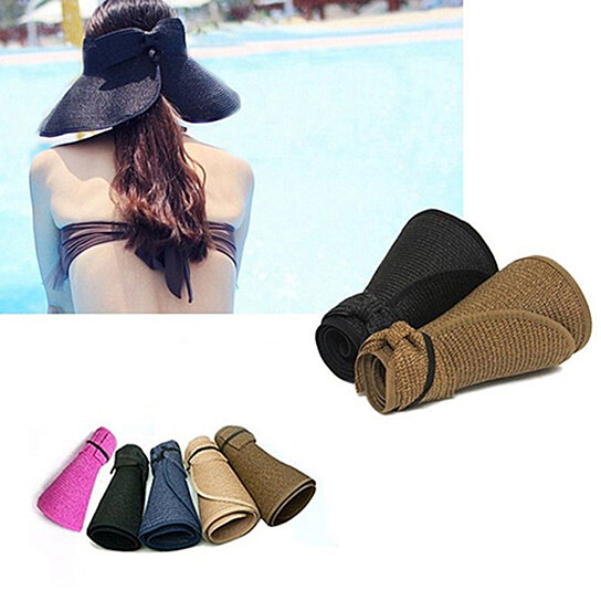 6c36401e3f1ee Trending product! This item has been added to cart 81 times in the last 24  hours. Women s Summer Wide Brim Roll Up Foldable Sun Beach Straw Braid Visor  ...