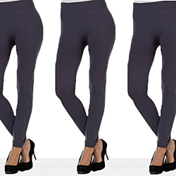 3 Pairs of Women's Smooth Seamless Footless Fashion Leggings - Gray