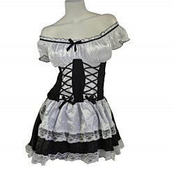 Halloween Costume Women Sexy Adult Holiday DressUp Role Play Bar Maid Black & White