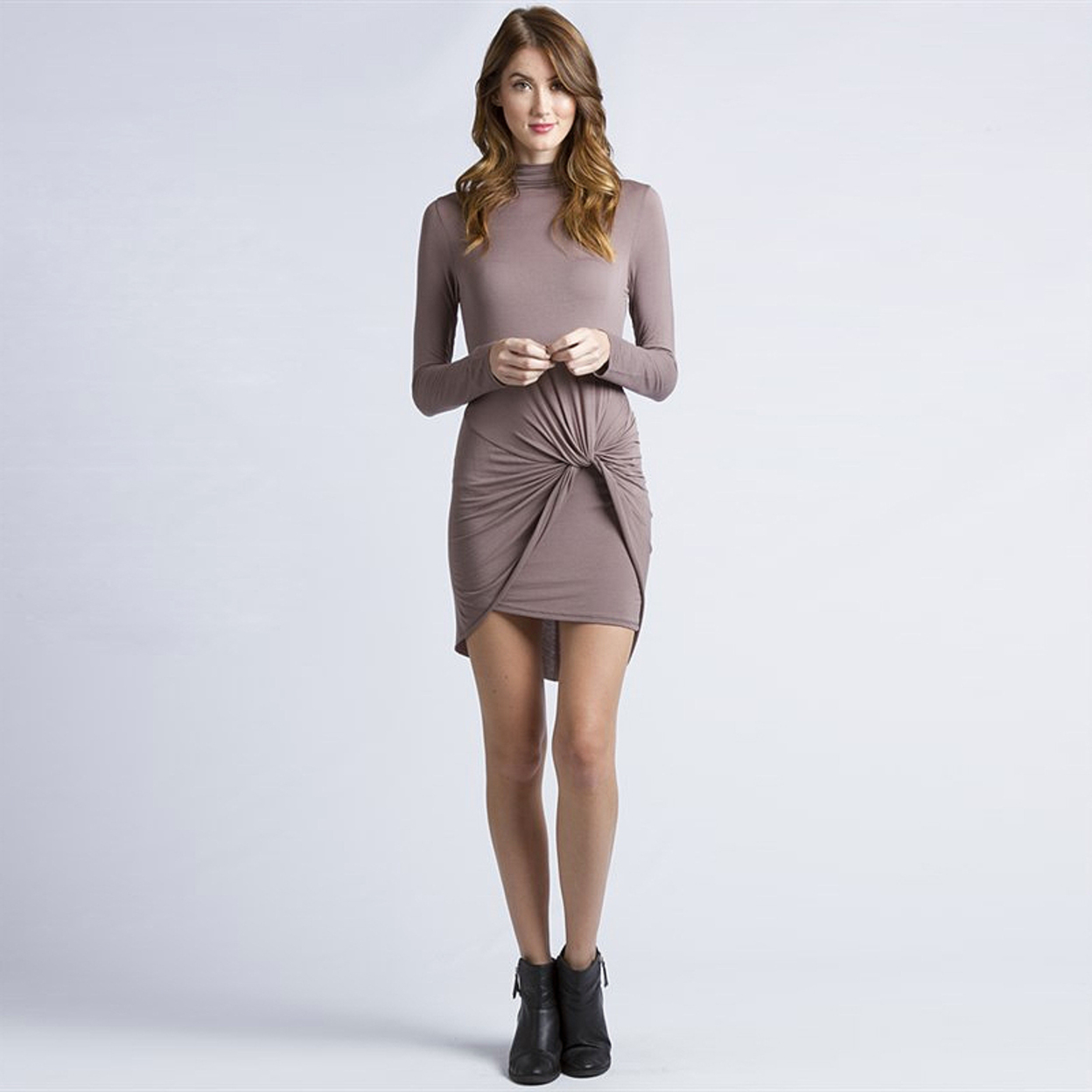 Wrapped Twisted Long Sleeve Micromodal Jersey Dress - Small, Mocha 545d2f7e683d6f3453000965