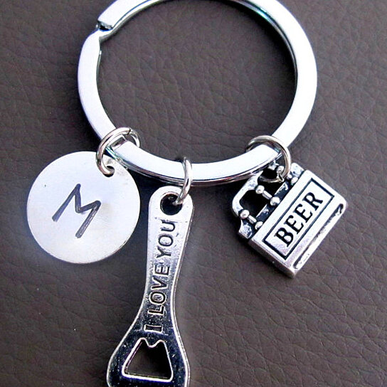 buy beer bottle opener keychain custom keychain personalized key chain i love you written on. Black Bedroom Furniture Sets. Home Design Ideas