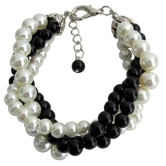 Buy Black Ivory Pearl Bracelet Costume Wedding Jewelry 4 Strand