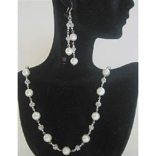 Buy BRD393 White Pearls Long Necklace 26 inches Swarovski ...