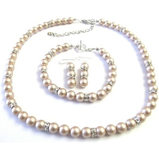 Buy bridal champagne pearls jewelry simulated diamond for Diamond pearl jewelry sets