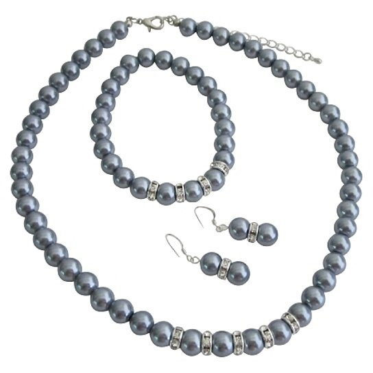 Bridemaides Pearl Jewelry Set Grey Faux Necklace Sterling Silver Earring W Stretchable Bracelet By Fashion For Everyone On Opensky