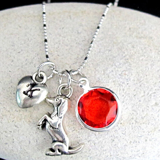 Buy Dog Charm Necklace Initial necklace, Puffy Heart ...