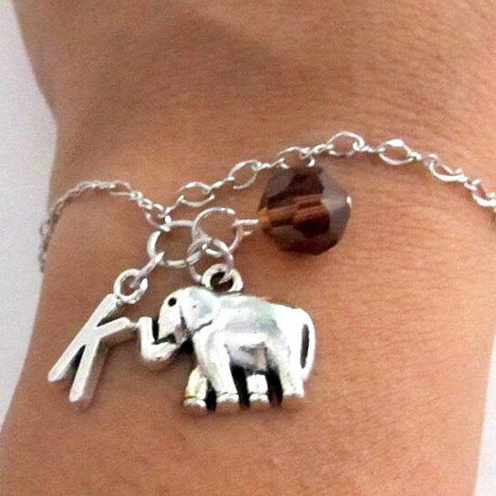 Elephant Bracelet Birthstone And Initial Elephant Jewelry Elephant Gift Personalized Elephant Birthstone Initial Free Shipping In Usa