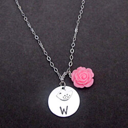 Flower Girl Necklace,Will You be My Flower Girl Gift,Initial Bird Charm, Adorable Children Jewelry,Flower girl jewelry