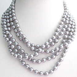 Hand Knotted Silver Gray Necklace Long Gray Neckalce 100 Inches Multi Strand Gray Necklace