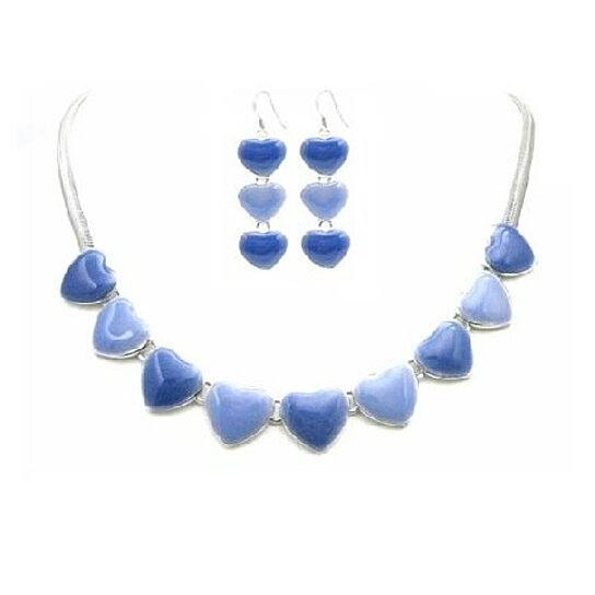 buy hearts pendant earrings jewelry set light dark blue jewelry