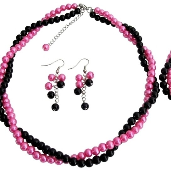 Buy NS1403 Pink Black Wedding Jewelry Bridesmaid Gift Necklace Earrings Brace