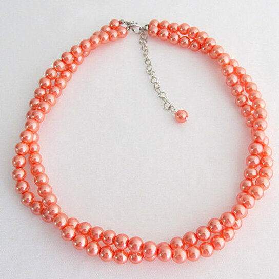Weight Lifting Equipment In Honolulu: Buy Orange Pearl Necklace Chunky Necklace Twisted Necklace