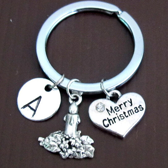 Buy personalized christmas keychain with initial for Engravable gifts for her