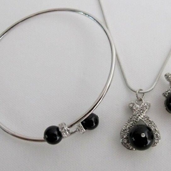 buy prom jewelry black pearls pendant necklace earring