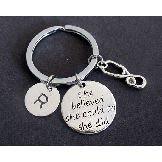 She believed she could so she did, Nurse Gift, Nursing, Graduation,  Stethoscope Key Chain, Medical Personalized Keyring