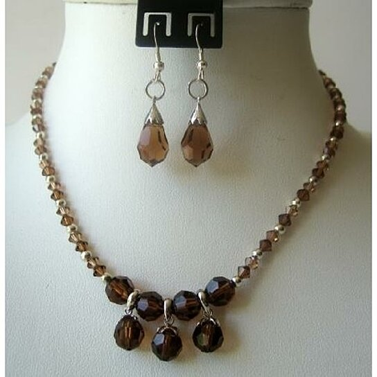 Buy Smoked Topaz Genuine Crystals TearDrop Necklace Set ...