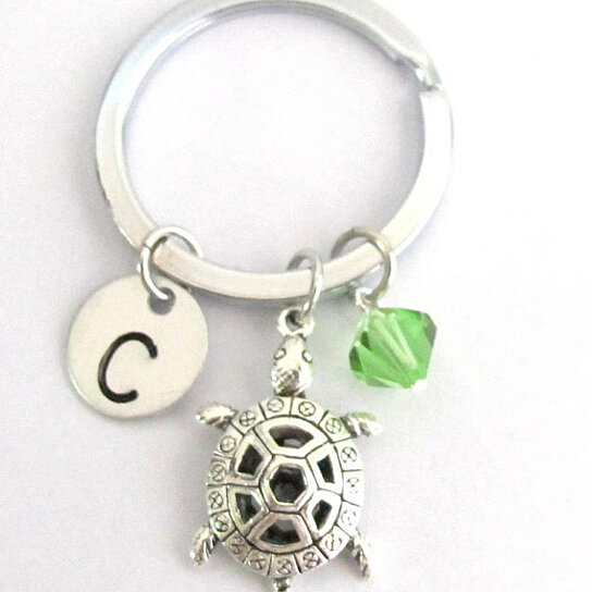 Turtle Keychain Choose a birthstone and initial, Turtle Key Ring,  Personalized Turtle, Initial Keychain Sea Turtle Free Shipping In USA