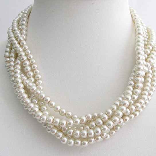 Wedding Jewelry Set Twisted Double Strand Swarovski Pearls Necklace Stud Earring Jewelry & Watches Engagement & Wedding