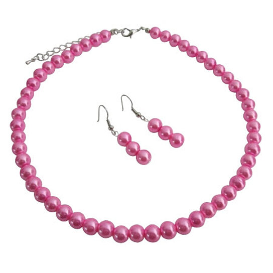 Buy wedding hot pink pearl gorgeous jewelry set under 10 for Pink wedding jewelry sets
