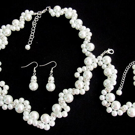Weight Lifting Equipment In Honolulu: Buy White Pearl Necklace Glass Pearl Necklace Earrings