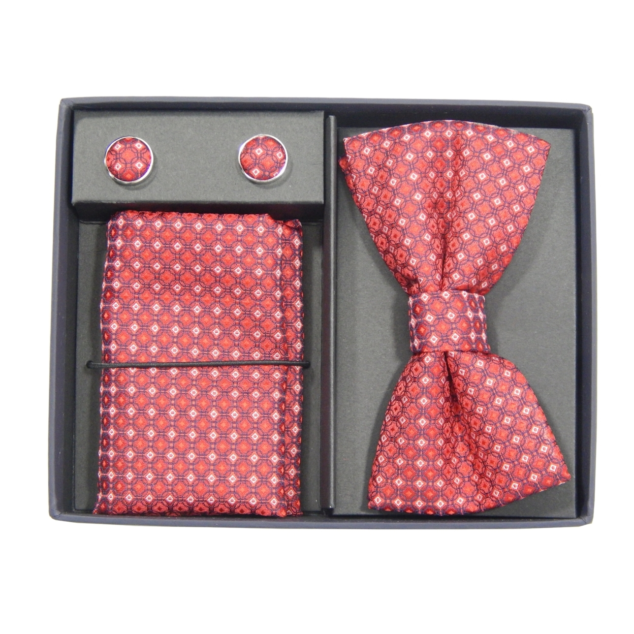 Brio Milano Mens Fashion Bow Tie Handkerchief & Cufflinks Set, Red Checkered Polka Dot