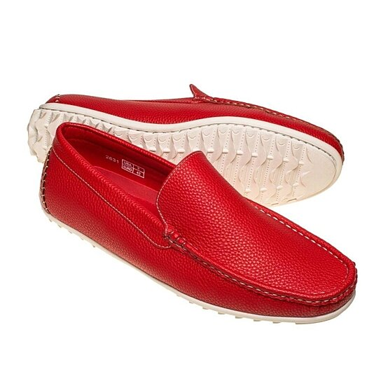 8e8ef30f4f7 Trending product! This item has been added to cart 11 times in the last 24  hours. Quentin Ashford Red Loafer with White Stitching and White Sole ...
