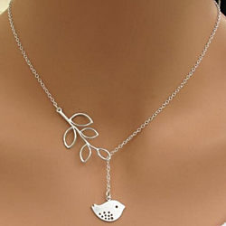 Sparrow and Leaf Branch Lariat Silvertone Necklace