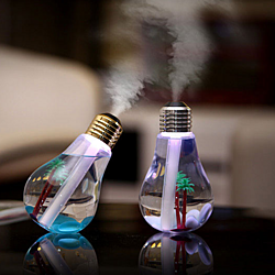 Unique Bulb Shape Ultrasonic Cool Mist Humidifier USB Desktop Air Purifier Atomizer with Changing Color LED Lights