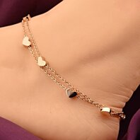FREE SHIPPING - 7 Heart Rose Gold Anklet - Barefoot Women Chain Hearts Anklet