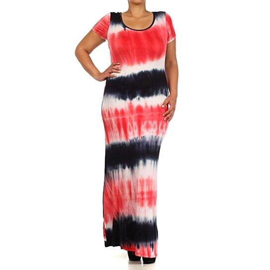 Buy Tie Dye Maxi Dress Red Black - Plus Size by Fashions For Divas ...