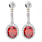 Dewdrops  Colorful Oval CZ Stones Earrings In Sterling Silver