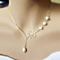 Pearls Of Joy Lariat Necklace In White Gold And Yellow Gold Plating