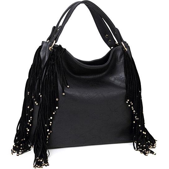 5477c5cb4081 Buy Dasein® Fringe Studded Faux Leather Hobo Bag by Fashlets on OpenSky