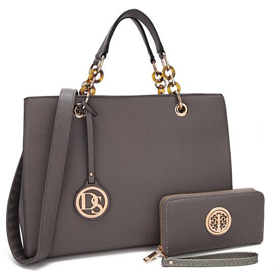 ce0c36302e46 Buy Dasein Saffiano Leather Chain Strap Satchel Handbag Tote Designer Purse  Shoulder Bag Laptop Bag with Matching Wallet by Fashlets on OpenSky