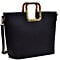 Dasein Square Handle Faux Leather Tote w/Removable Shoulder Strap