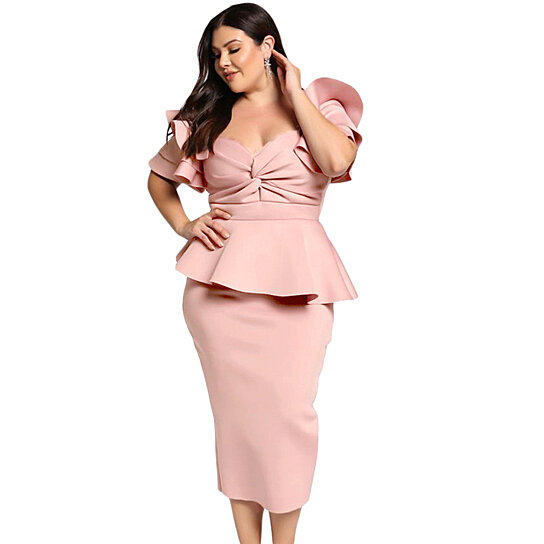 Women\'s Pink/Black/Red/Blue Plus Size Tiered Sleeve Twisted Peplum Dress