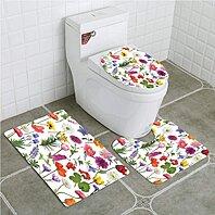 3 Piece Tulip Blue and Gray Flowers Bath Mat Set Carpet Contour Mat Toilet Cover