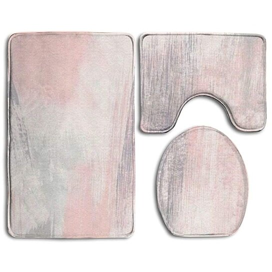 Buy Pink Gray Painting 3 Piece Bathroom Rugs Set Bath Rug Contour Mat Toilet Lid Cover By Felix Honey On Dot Bo