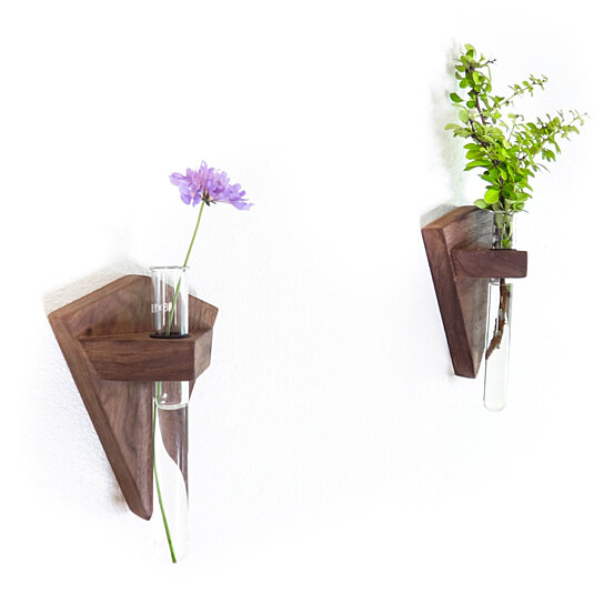 Buy walnut bud vase wall mounted by fernweh woodworking for Dot wall vase