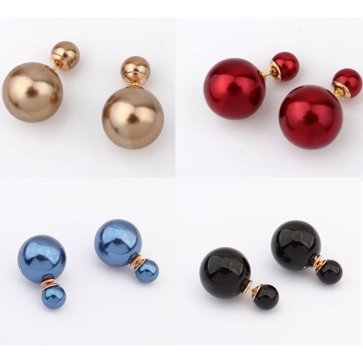 Bowling Pin Reversible Pearl Earrings