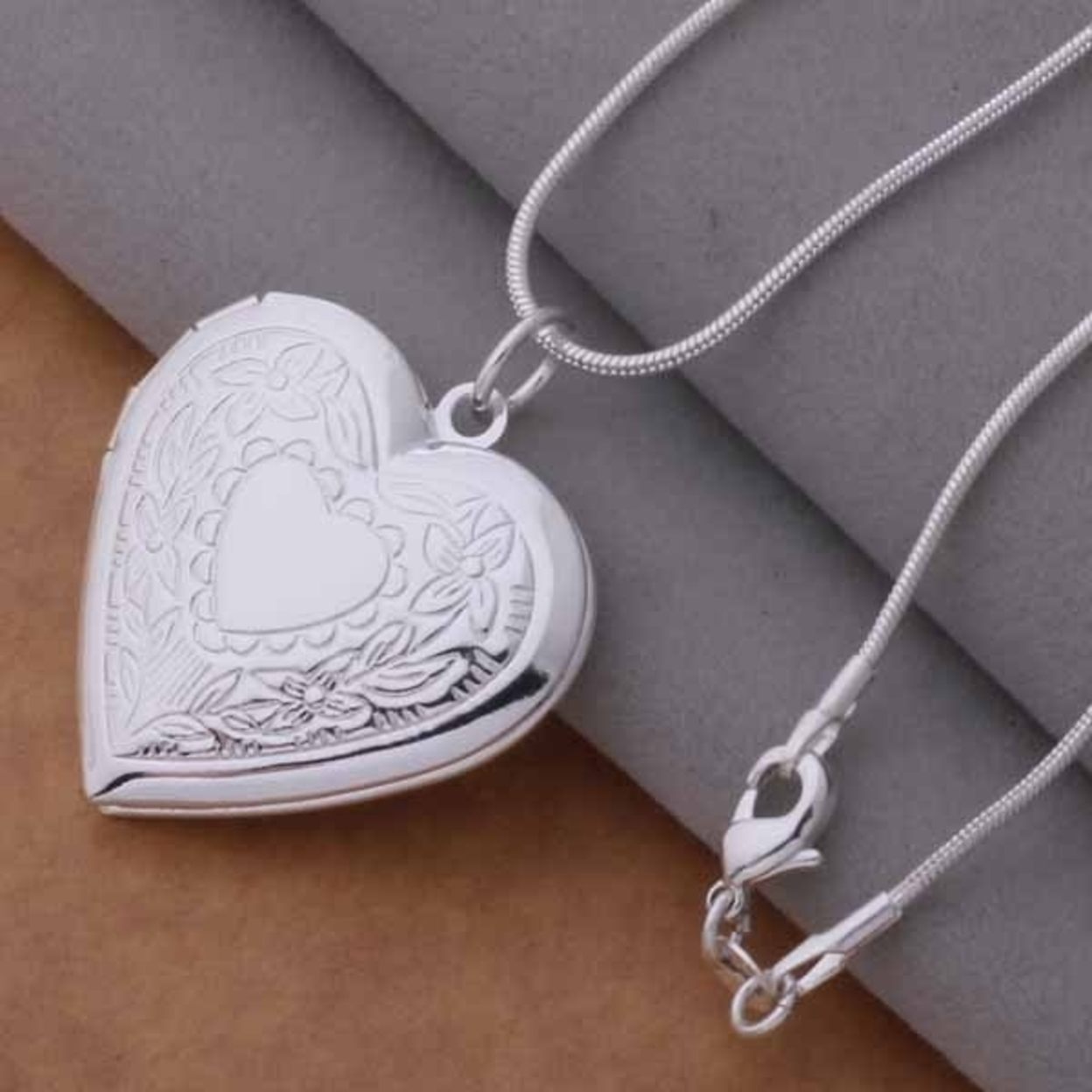 Floral Design Stamped Sterling Silver Heart Locket Necklace