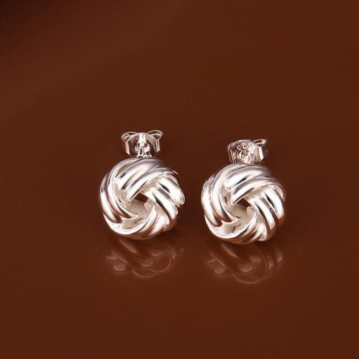 Puffy Love Knots Sterling Silver Earrings