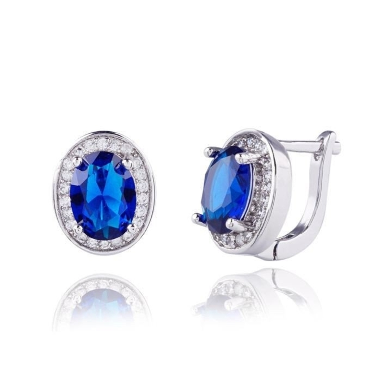 Sapphire Oval Halo Earing
