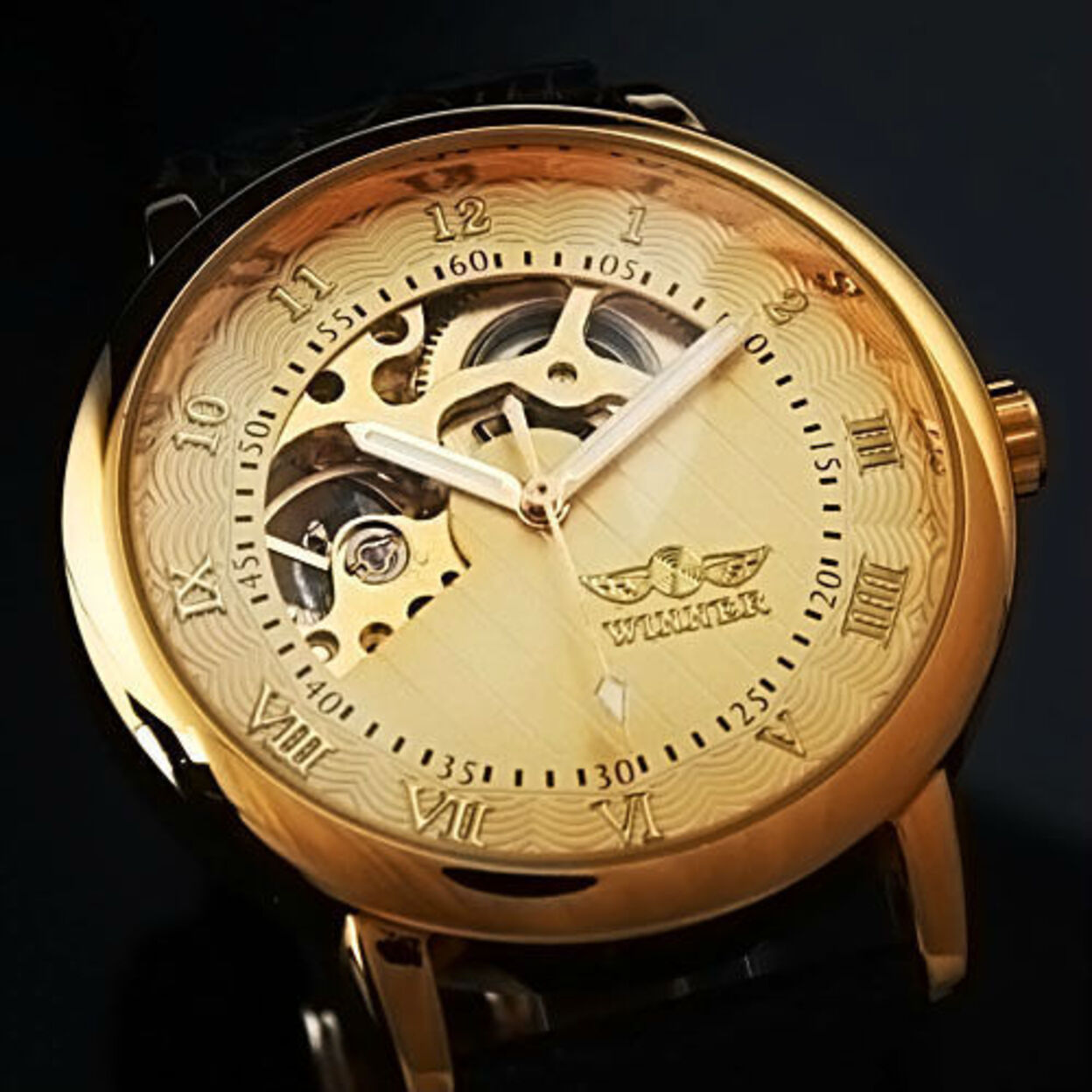 Sophisticated In Gold Mechanical Skeleton Automatic Watch For Men 54a594dc503d6f421c0000f6