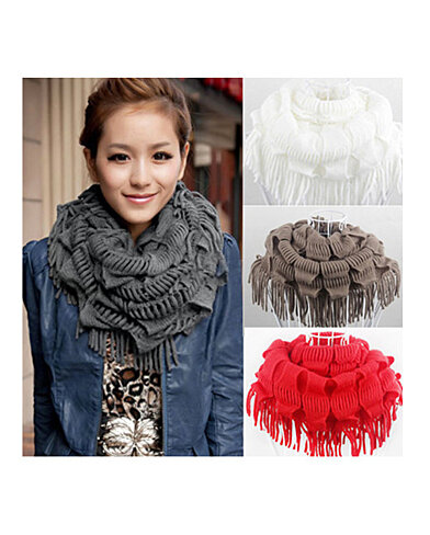 buy knitted fringe layered neck circle scarf by finch