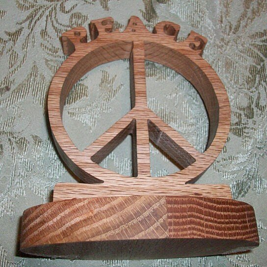 Buy wooden peace sign display by fine crafts on opensky for How to display wood signs at craft show